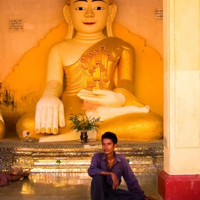 Young man and Buddha